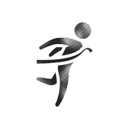 Finish line icon in halftone style. Black and white monochrome vector illustration.