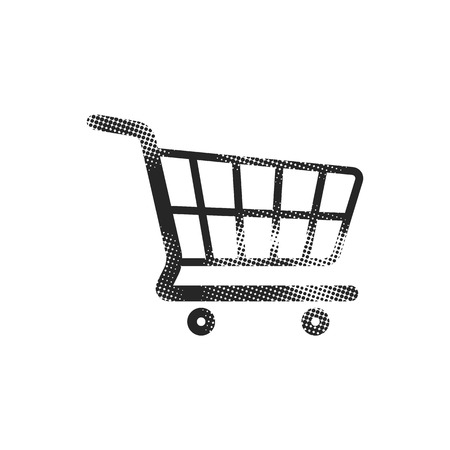 Shopping cart icon in halftone style. Black and white monochrome vector illustration.