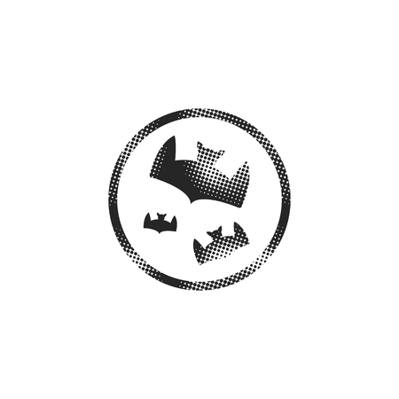 Bats and moon icon in halftone style. Black and white monochrome vector illustration.