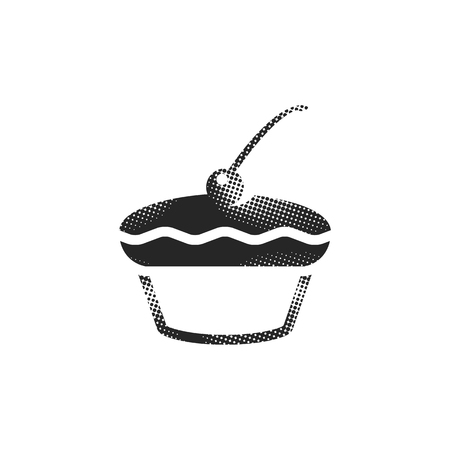 Cake icon in halftone style. Black and white monochrome vector illustration. Vectores