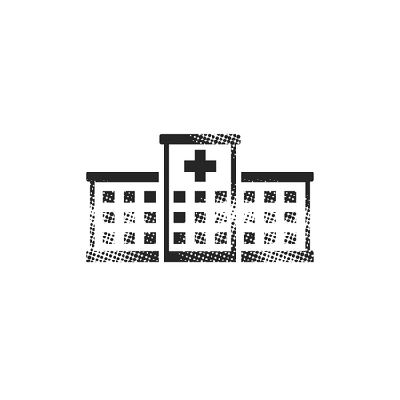 Hospital building icon in halftone style. Black and white monochrome vector illustration. Illustration