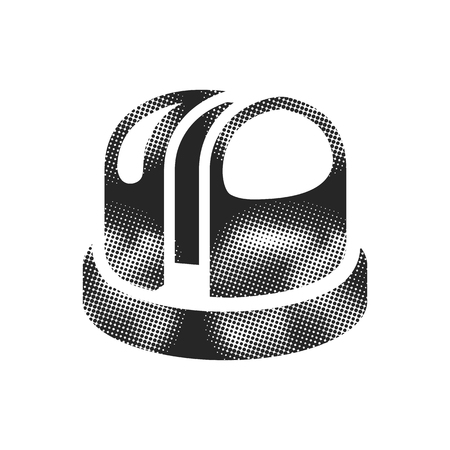 Earth telescope icon in halftone style. Black and white monochrome vector illustration.