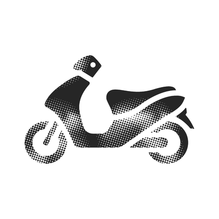 Motorcycle icon in halftone style. Black and white monochrome vector illustration.