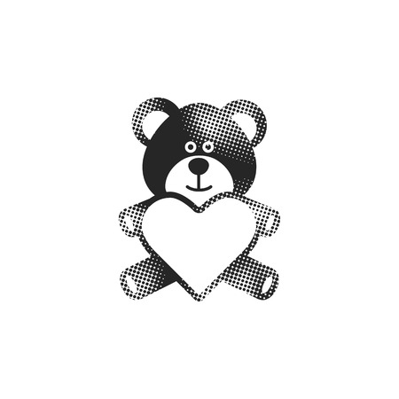 Teddy holding heart shape icon in halftone style. Black and white monochrome vector illustration.