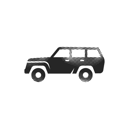 Car icon in halftone style. Black and white monochrome vector illustration.