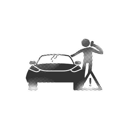 Car and phone calling figure icons in halftone style. Automotive vehicle maintenance service. Black and white monochrome vector illustration.