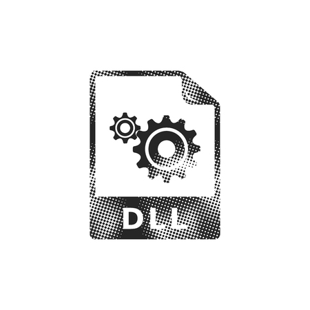 System file format icon in halftone style. Black and white monochrome vector illustration.