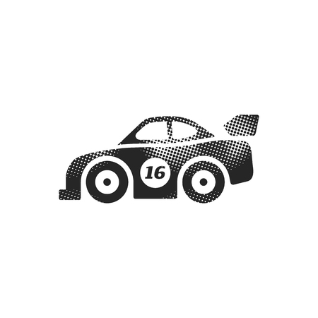 Race car icon in halftone style. Black and white monochrome vector illustration.