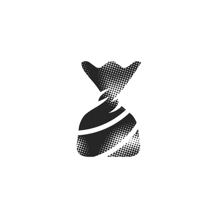 Twist candy icon in halftone style. Black and white monochrome vector illustration. Banque d'images - 112177660
