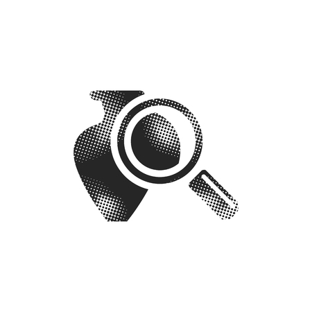 Vase and magnifier icon in halftone style. Black and white monochrome vector illustration.