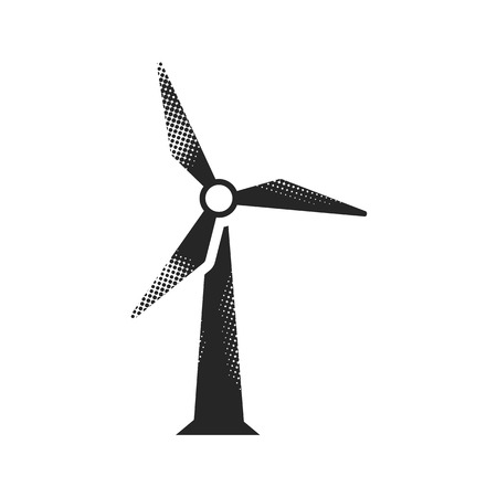 Wind turbine icon in halftone style. Black and white monochrome vector illustration. Reklamní fotografie - 112177677