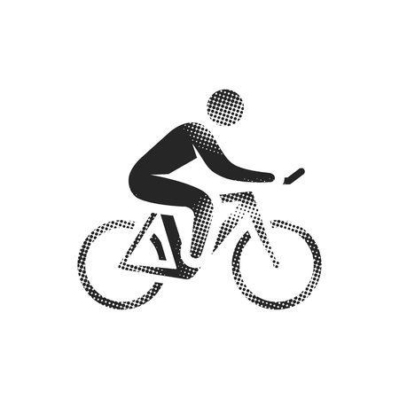 Cycling icon in halftone style. Black and white monochrome vector illustration.