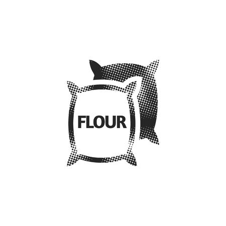 Flour sack icon in halftone style. Black and white monochrome vector illustration.