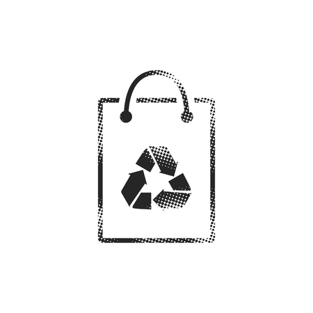 Shopping bags icon in halftone style. Black and white monochrome vector illustration.