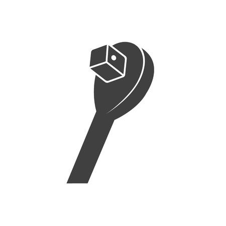 Icônes de clé à douille en noir et blanc. Service d'entretien de véhicules automobiles. Illustrations vectorielles.