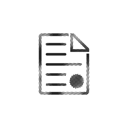 Contract document icon in halftone style. Black and white monochrome vector illustration.