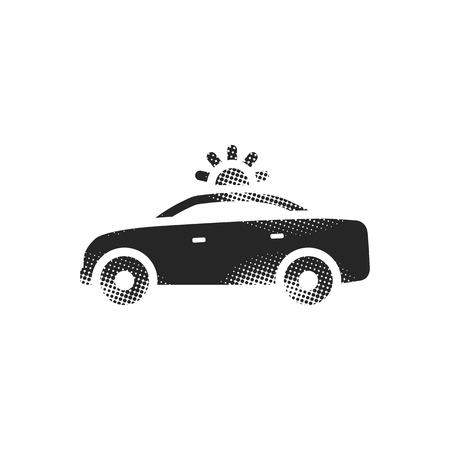 Safety car icon in halftone style. Black and white monochrome vector illustration.