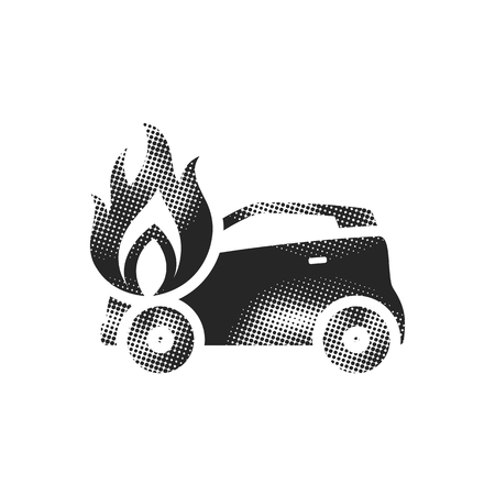 Car on fire icon in halftone style. Black and white monochrome vector illustration.