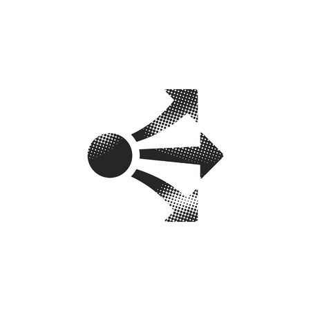Propagate arrows icon in halftone style. Black and white monochrome vector illustration. Ilustração