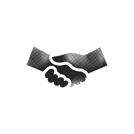 Handshake icon in halftone style. Black and white monochrome vector illustration.