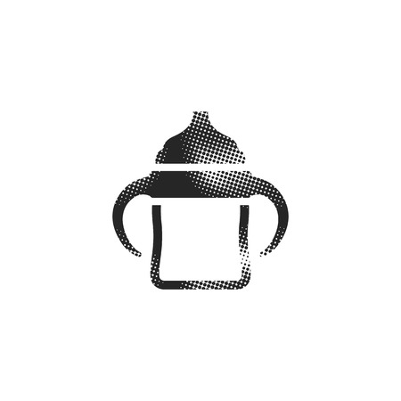 Milk bottle icon in halftone style. Black and white monochrome vector illustration.