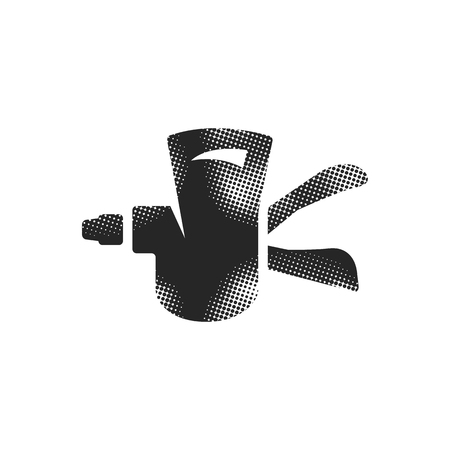 Bicycle shifter icon in halftone style. Black and white monochrome vector illustration.
