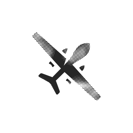 Unmanned aerial vehicle icon in halftone style. Black and white monochrome vector illustration.