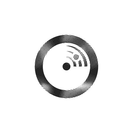 Radar icon in halftone style. Black and white monochrome vector illustration.