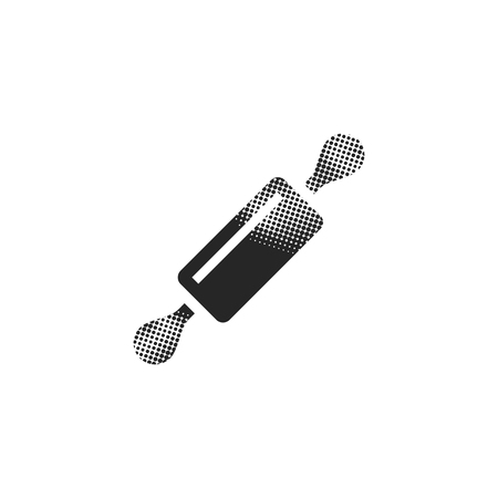 Wooden roller icon in halftone style. Black and white monochrome vector illustration.