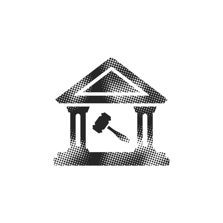 Auction house icon in halftone style. Black and white monochrome vector illustration.