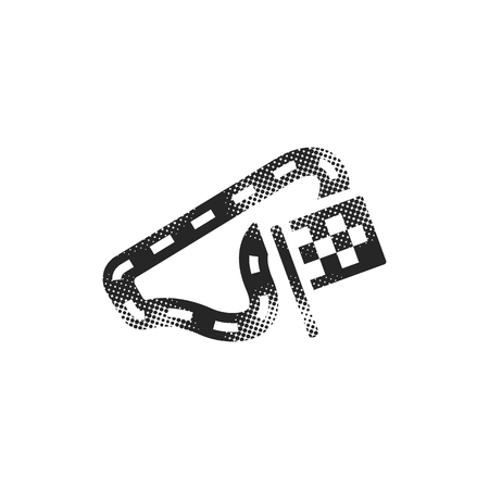 Race circuit icon in halftone style. Black and white monochrome vector illustration.