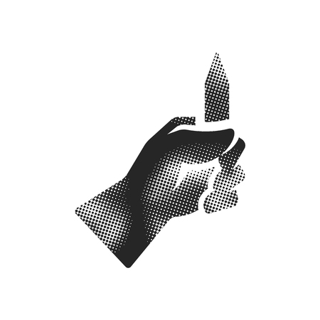 Pencil measure icon in halftone style. Black and white monochrome vector illustration.