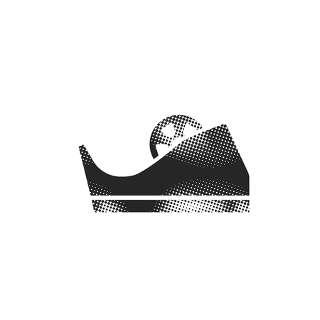 Tape dispenser icon in halftone style. Black and white monochrome vector illustration. Illustration