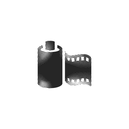 Photographic film icon in halftone style. Black and white monochrome vector illustration.