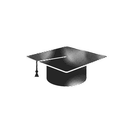 Graduation hat icon in halftone style. Black and white monochrome vector illustration.