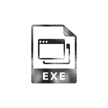 Executable file format icon in halftone style. Black and white monochrome vector illustration.