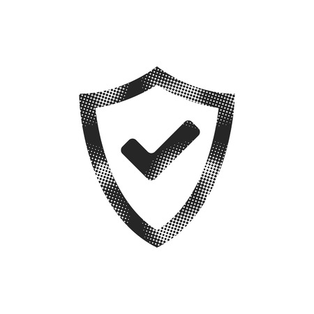 Shield icon with checkmark in halftone style. Black and white monochrome vector illustration. Illustration