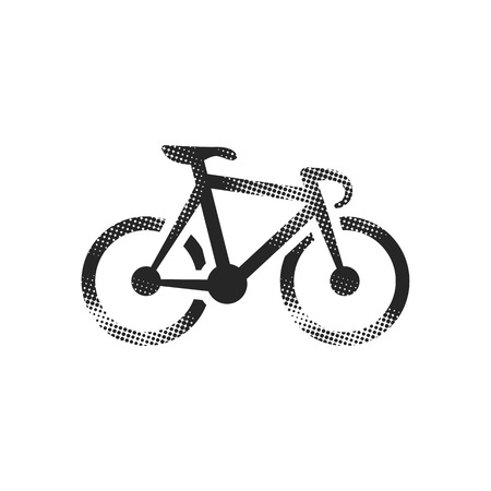 Track bike icon in halftone style. Black and white monochrome vector illustration.