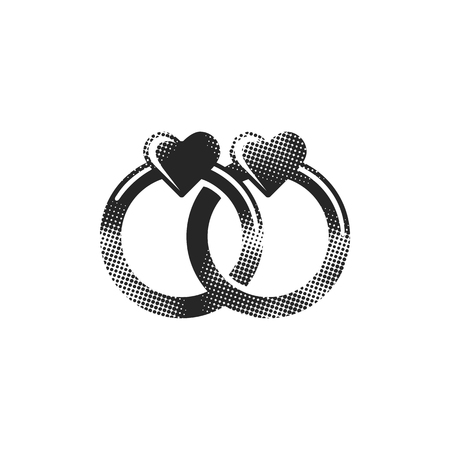 Wedding ring icon in halftone style. Black and white monochrome vector illustration.