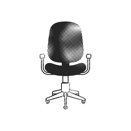 Office chair icon in halftone style. Black and white monochrome vector illustration.