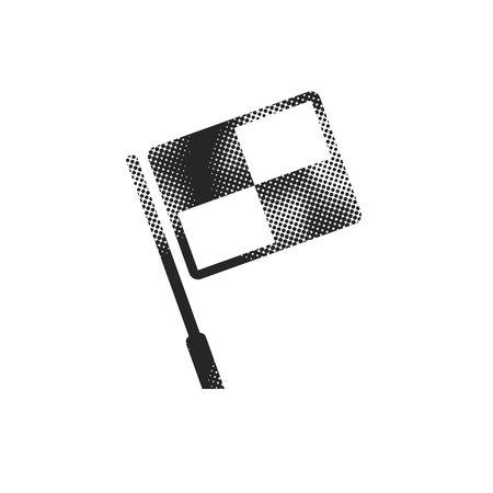Lineman flag icon in halftone style. Black and white monochrome vector illustration.