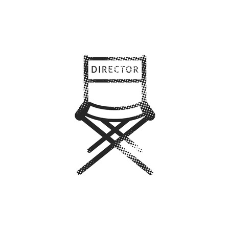 Movie director chair icon in halftone style. Black and white monochrome vector illustration.