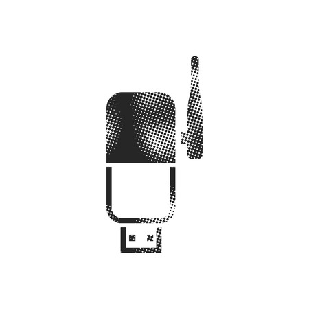 Wireless receiver icon in halftone style. Black and white monochrome vector illustration.