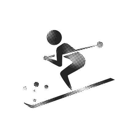 Skiing icon in halftone style. Black and white monochrome vector illustration.