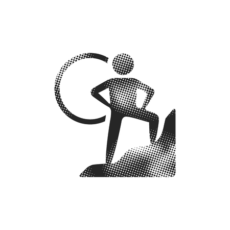 Rock climbing icon in halftone style. Black and white monochrome vector illustration.  イラスト・ベクター素材