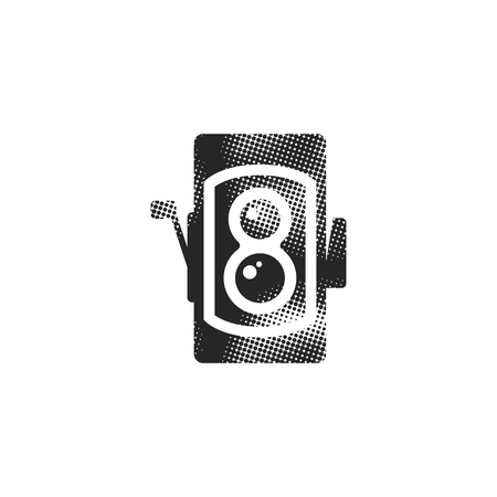Twin lens reflex camera icon in halftone style. Black and white monochrome vector illustration.