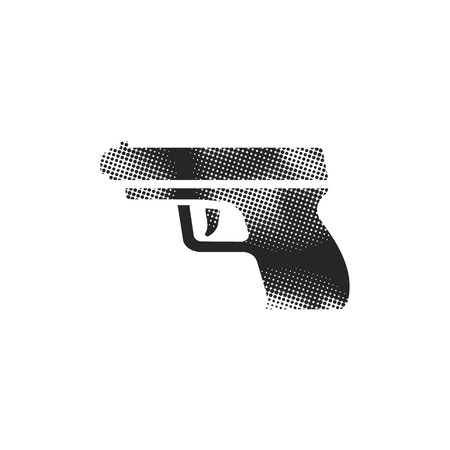 Arm gun icon in halftone style. Black and white monochrome vector illustration. Иллюстрация
