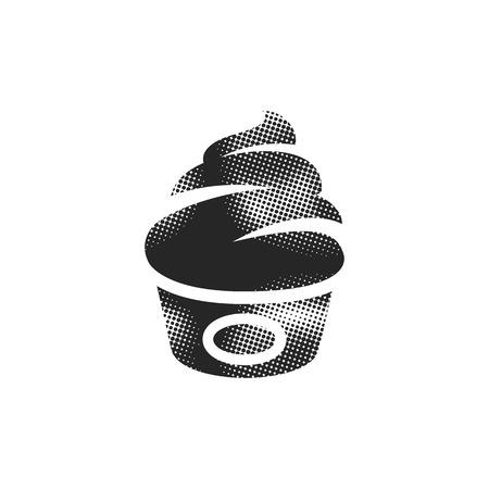 Ice cream icon in halftone style. Black and white monochrome vector illustration.