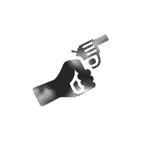 Starting gun icon in halftone style. Black and white monochrome vector illustration. Illustration