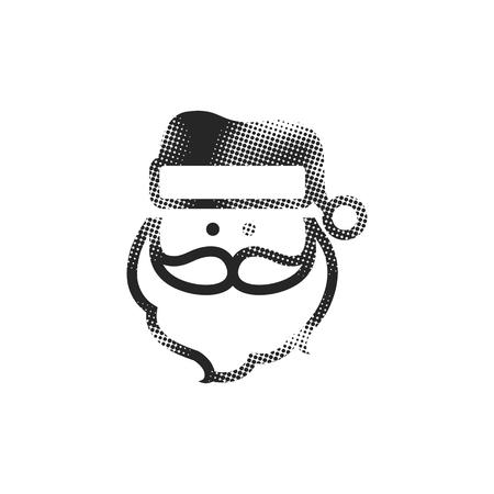 Santa Claus head icon in halftone style. Black and white monochrome vector illustration.